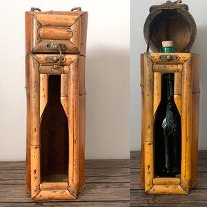 Vintage Boho Rattan Bamboo Wine Tote